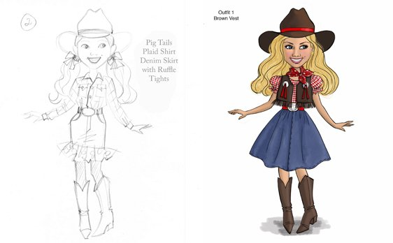 cowgirl doll design - initial drawing and rendering