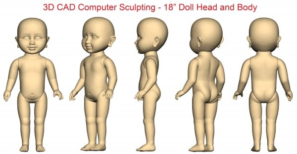 18 inch Virtual Doll 3D CAD sculpting of Body and Head