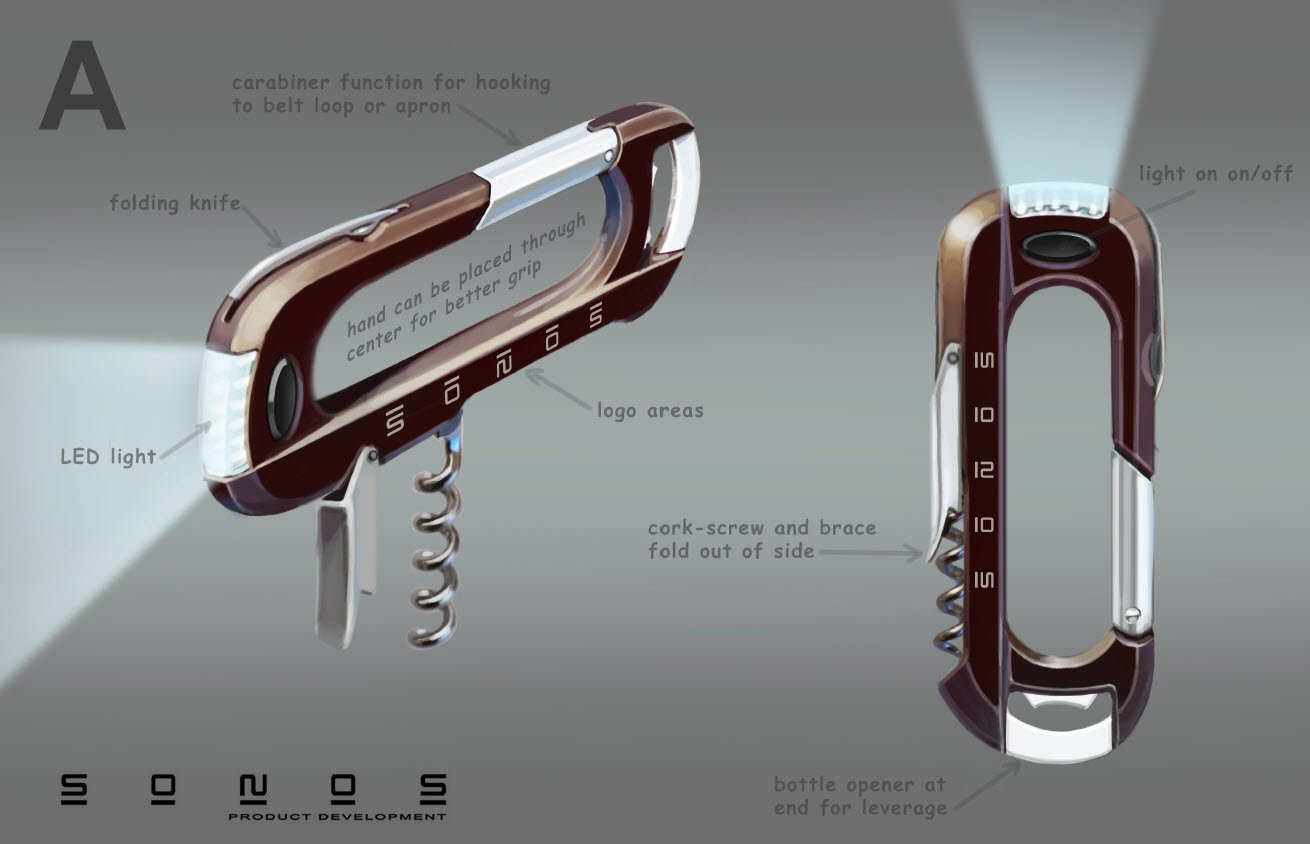 Phase 1 -Concept for prototyping wine Corkscrew Barmaid tool