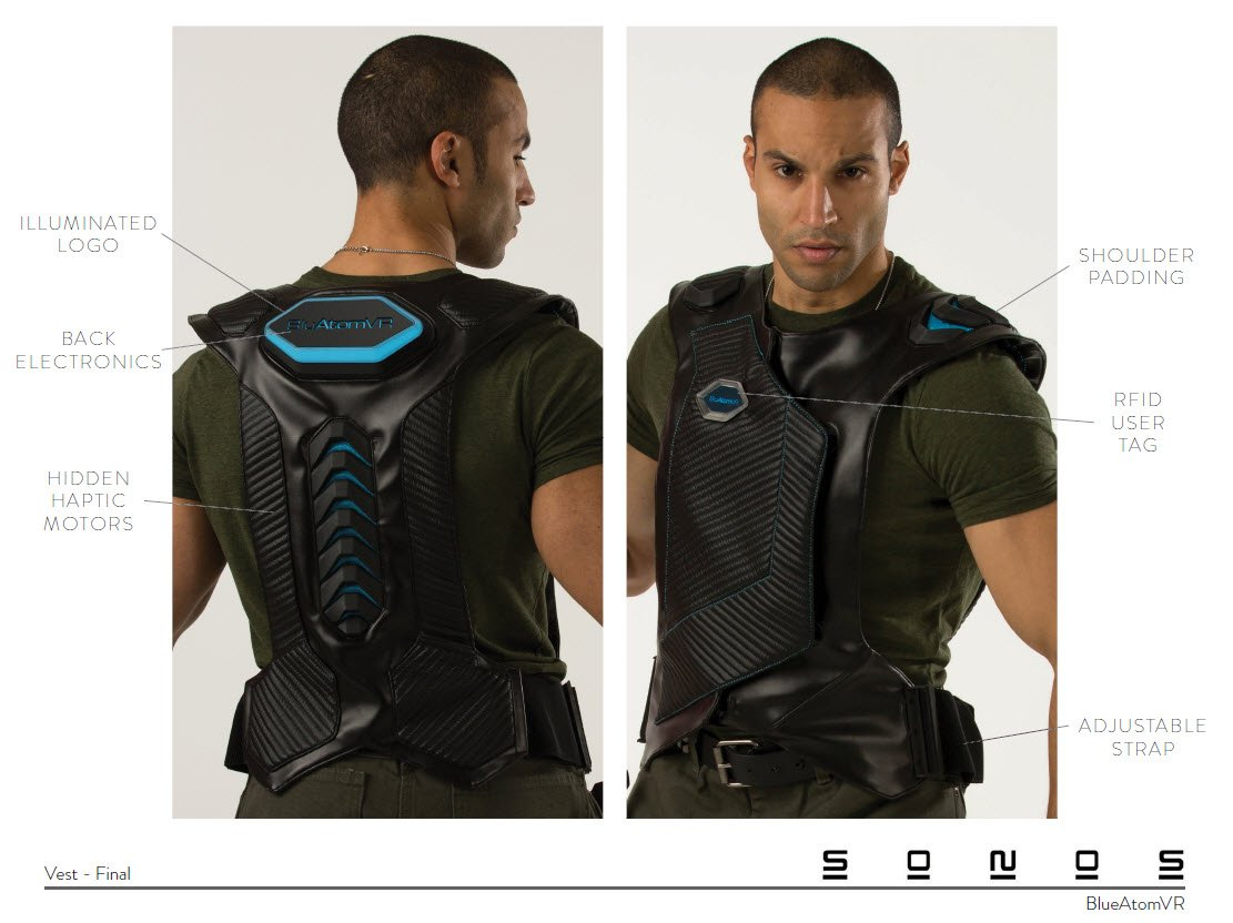 VR Controller Vest Design – prototype with feature call-outs