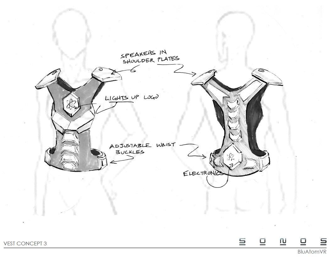 Concept Design renderings BluAtom motion control Vest