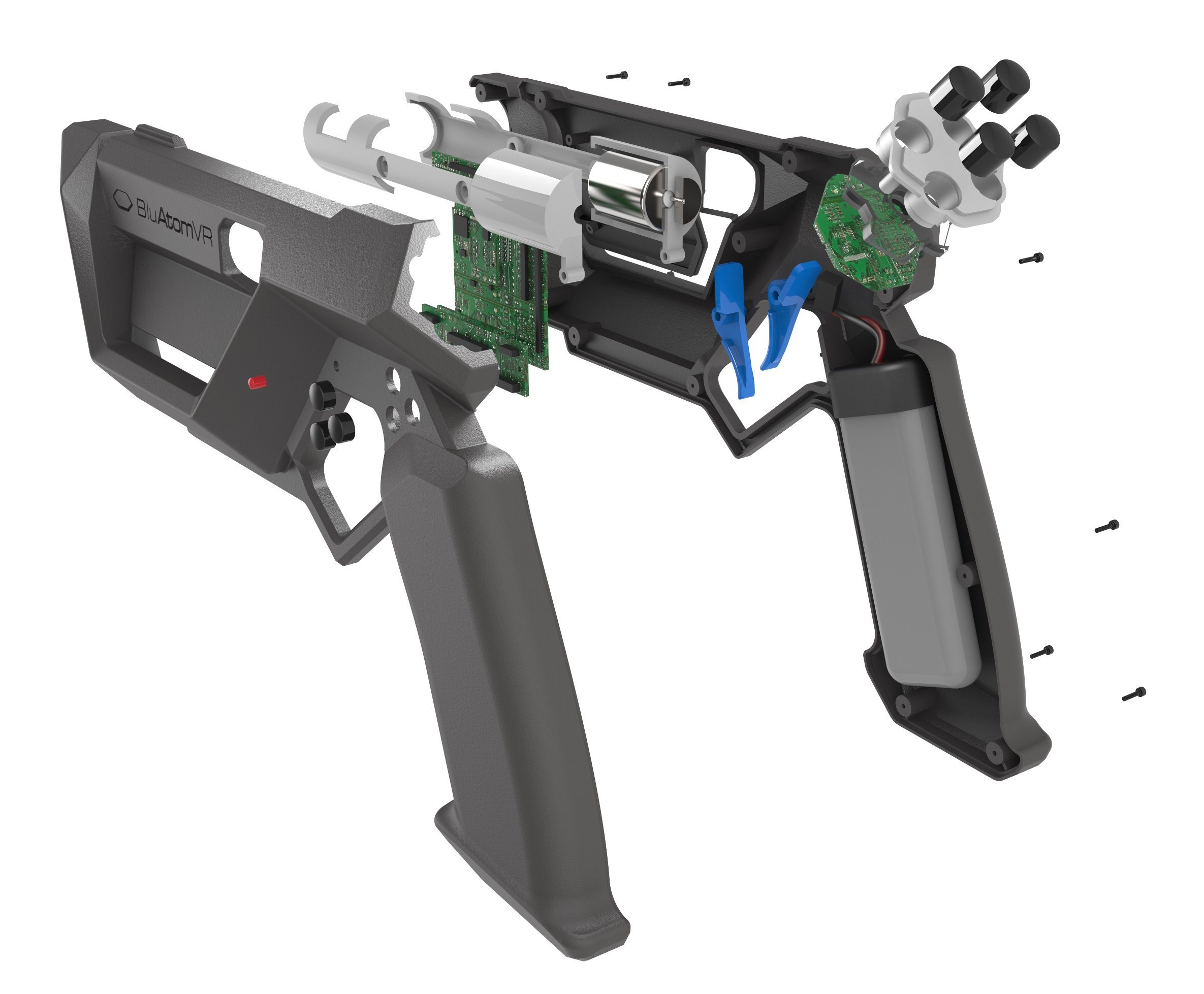 VR gun 3D CAD exploded view
