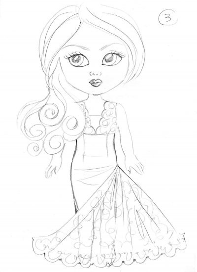 Debutante Doll Pencil Design Concept