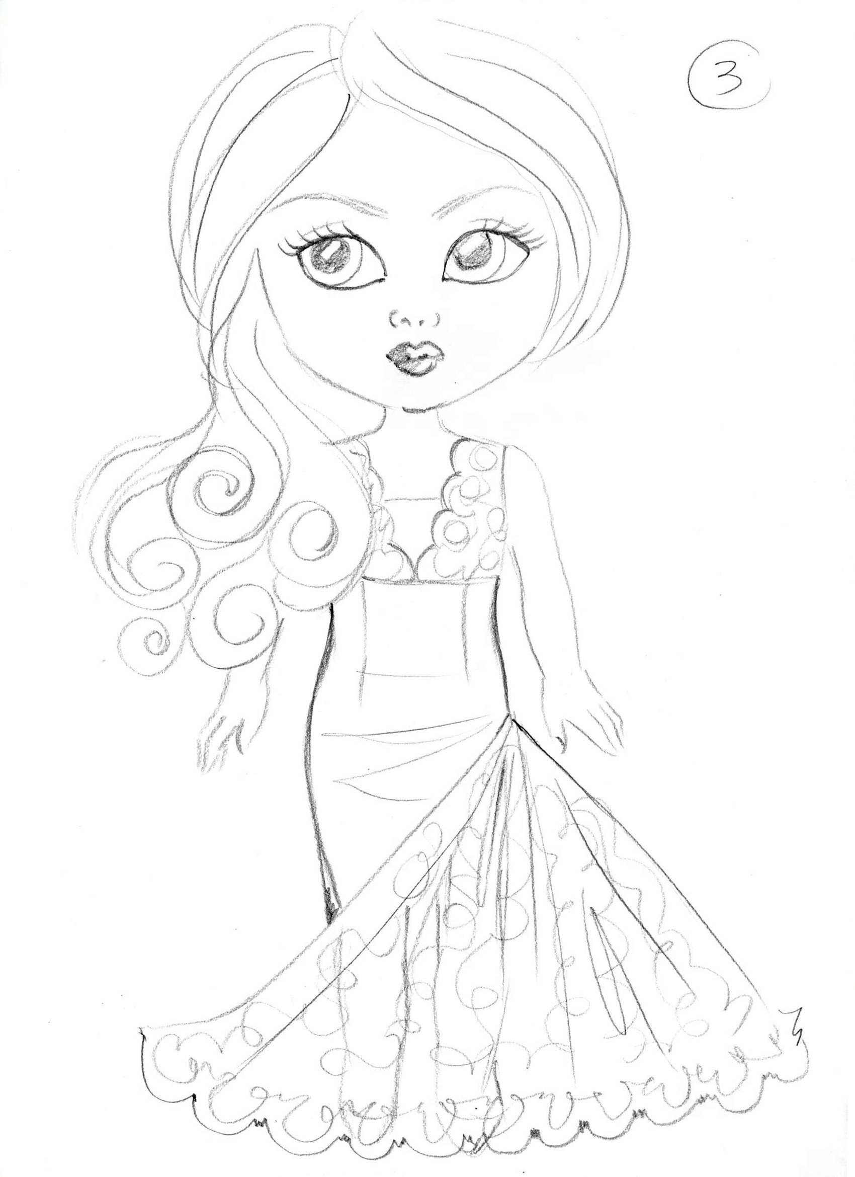 Debutante Doll Pencil Design Concept