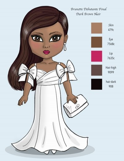 14 inch tall Debutante Final color doll concept rendering