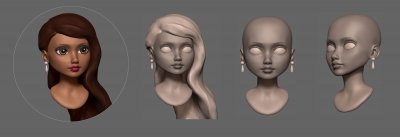 Debutante Custom Doll Head Sculpt in progress