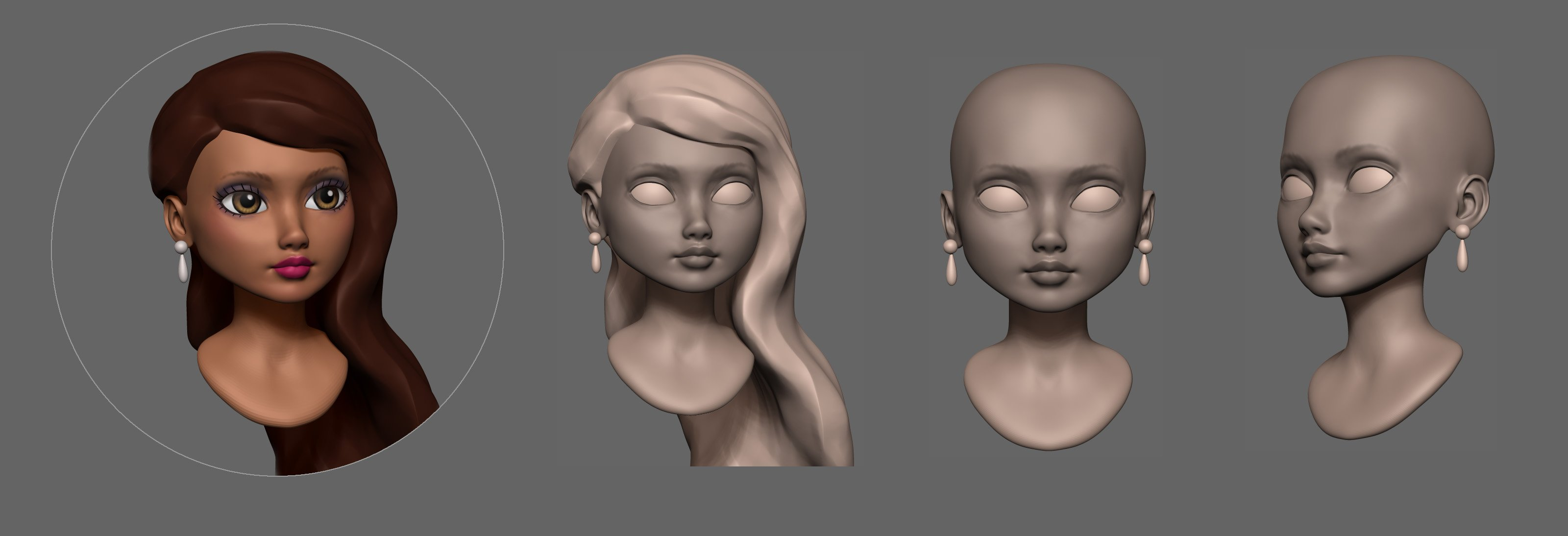 Debutante Custom Doll Head Sculpt in progress