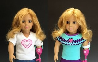 18 inch doll with 2 outfits – Side by Side
