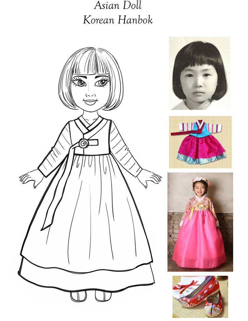 Asian Doll-Pencil Concept-Hanbok Dress