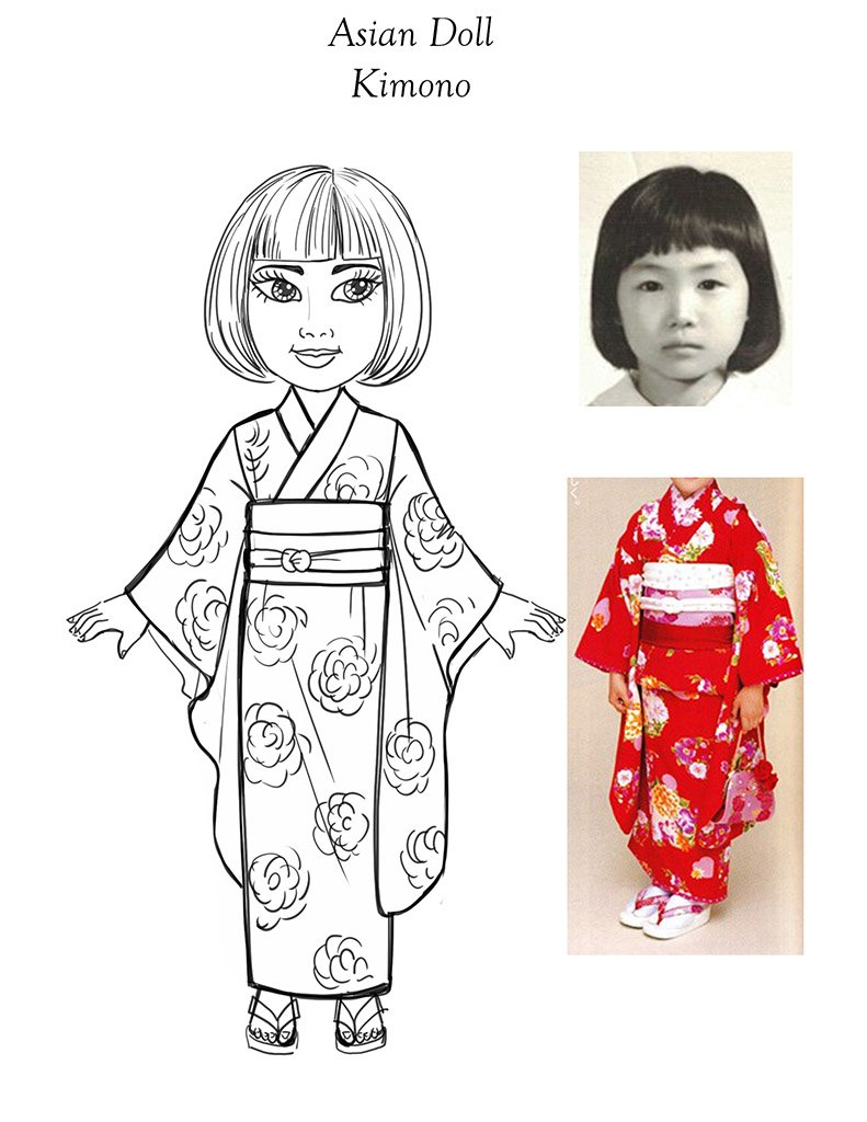 18 inch School girl Doll Design-kimono dress