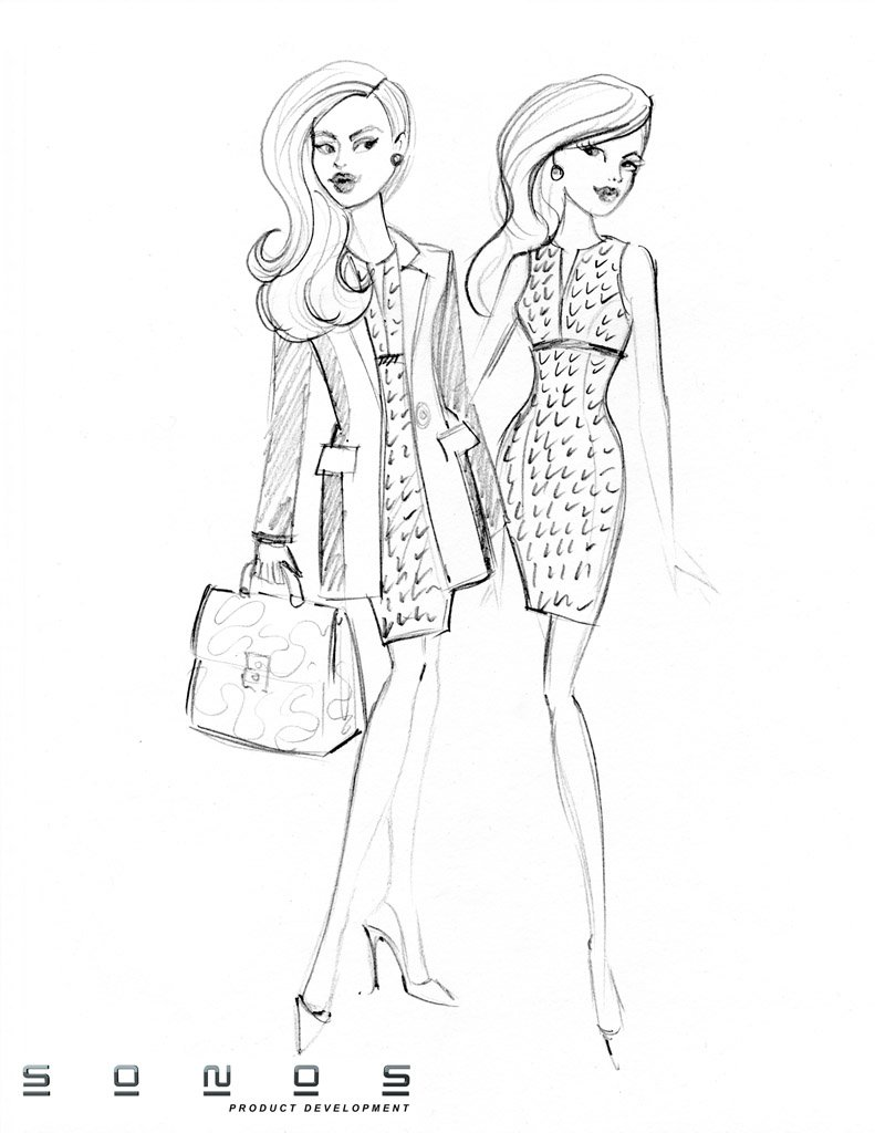 fashion doll pencil designs