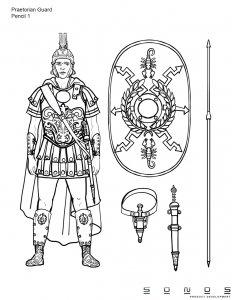 Custom Action Figure pencil sketch - Praetorian Guard