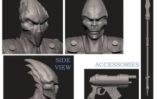 3D sculpt details - Action figure face & Accessories