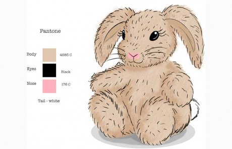 Approved color concept drawing toy plushBunny